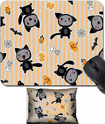 MSD Mouse Wrist Rest and Small Mousepad Set, 2pc Wrist Support design: 15126255 Kawaii background of Halloween related objects and creatures ()