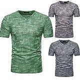 Apparel : Men Summer Casual Solid Hole V Neck Slim T-Shirt Blouse