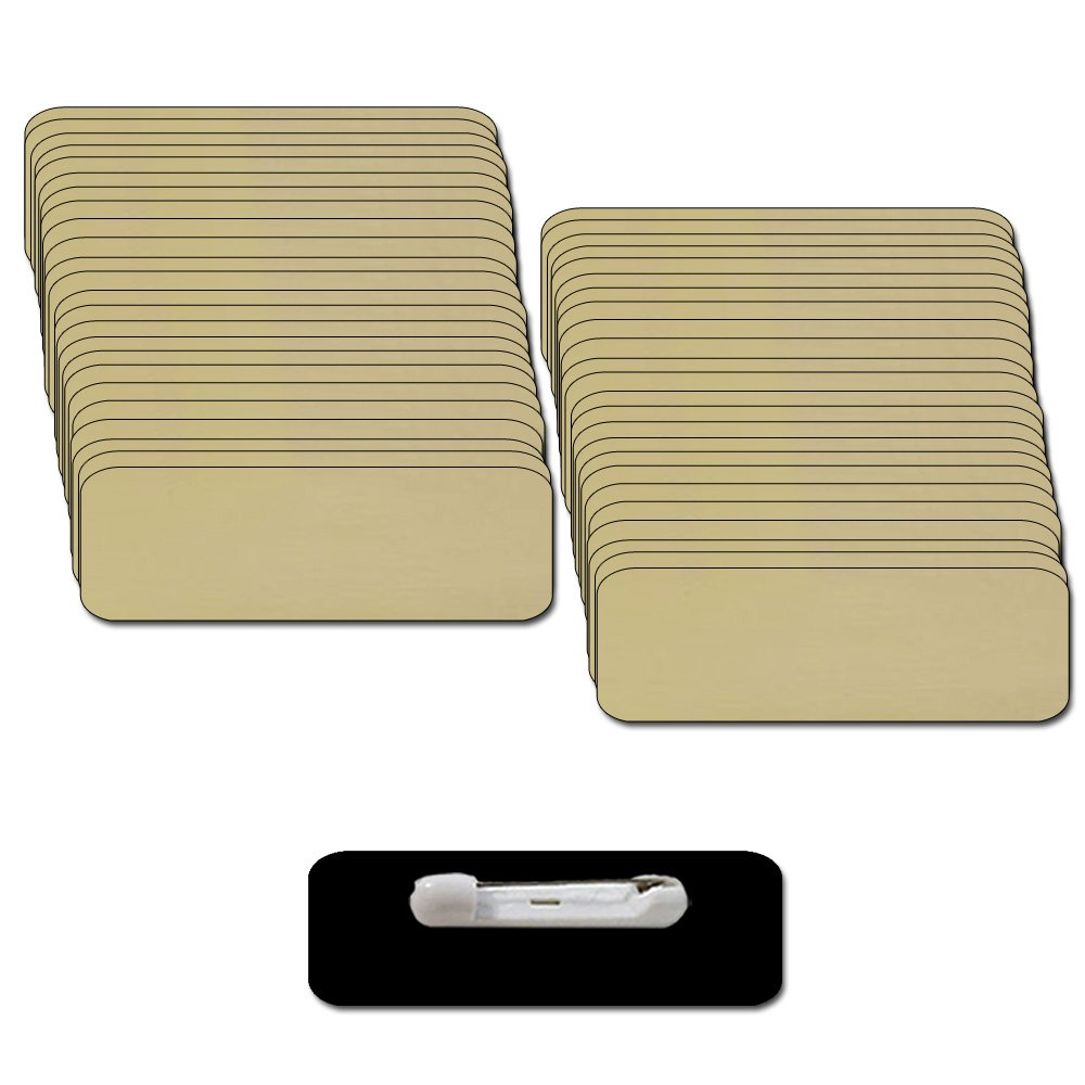 Name Badges with Pin Fastener - 50pk Kit Includes Crystal Clear Labels - Gold/Black Blank Plastic 1/4th Rounded Corners 1'' X 3''