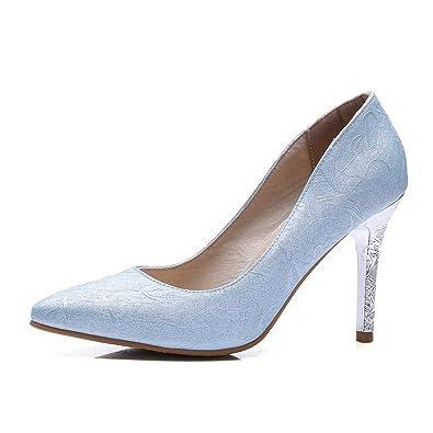 Damen PU Ziehen auf Schließen Zehe Hoher Absatz Rein Pumps Schuhe, Silber, 35 AgooLar