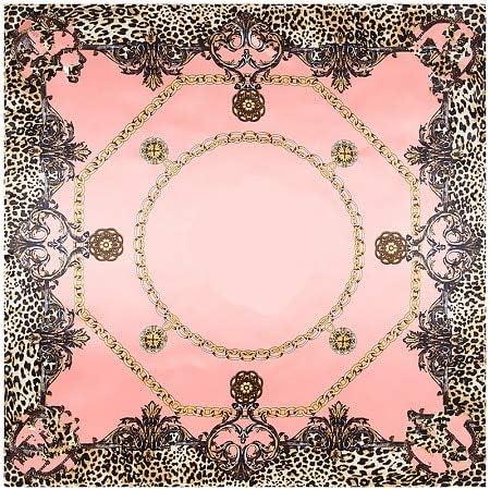 AHUIOPL Bufanda de Seda Pañuelo Cuadrado de Seda de Primavera Mujeres España Cadena Estampado de Leopardo Bufandas y Abrigos Hijab Bandana Señora Pañuelo 90x90: Amazon.es: Deportes y aire libre