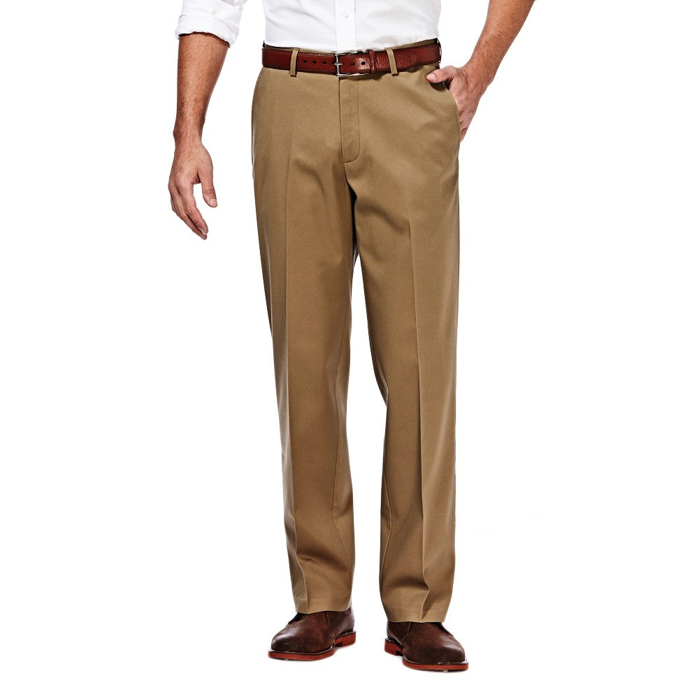 Haggar Men's Classic Fit Flat-Front Hidden Expandable Waistband Premium No Iron Khaki, 33W x 30L - Bright Khaki by Haggar
