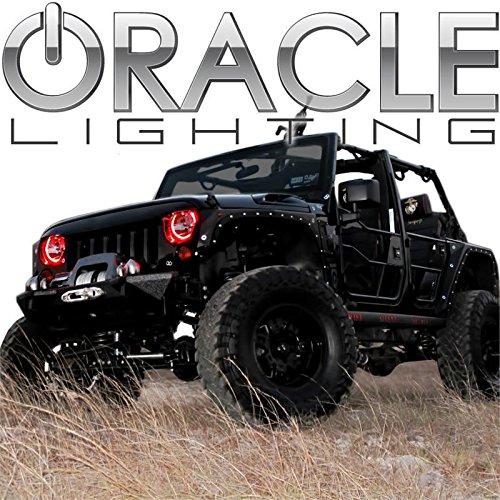 Oracle Lighting JE-RR0713P-R - Jeep Wrangler Plasma Halo Headlight Rings - Red