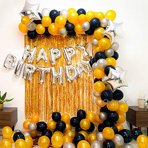 CherishX.com Golden Birthday Decoration Items – 65Pcs Combo – Silver Foil Happy Birthday, Golden Foil Fringe Curtain, Golden Silver & Black Balloon – Balloons for Decoration at Home