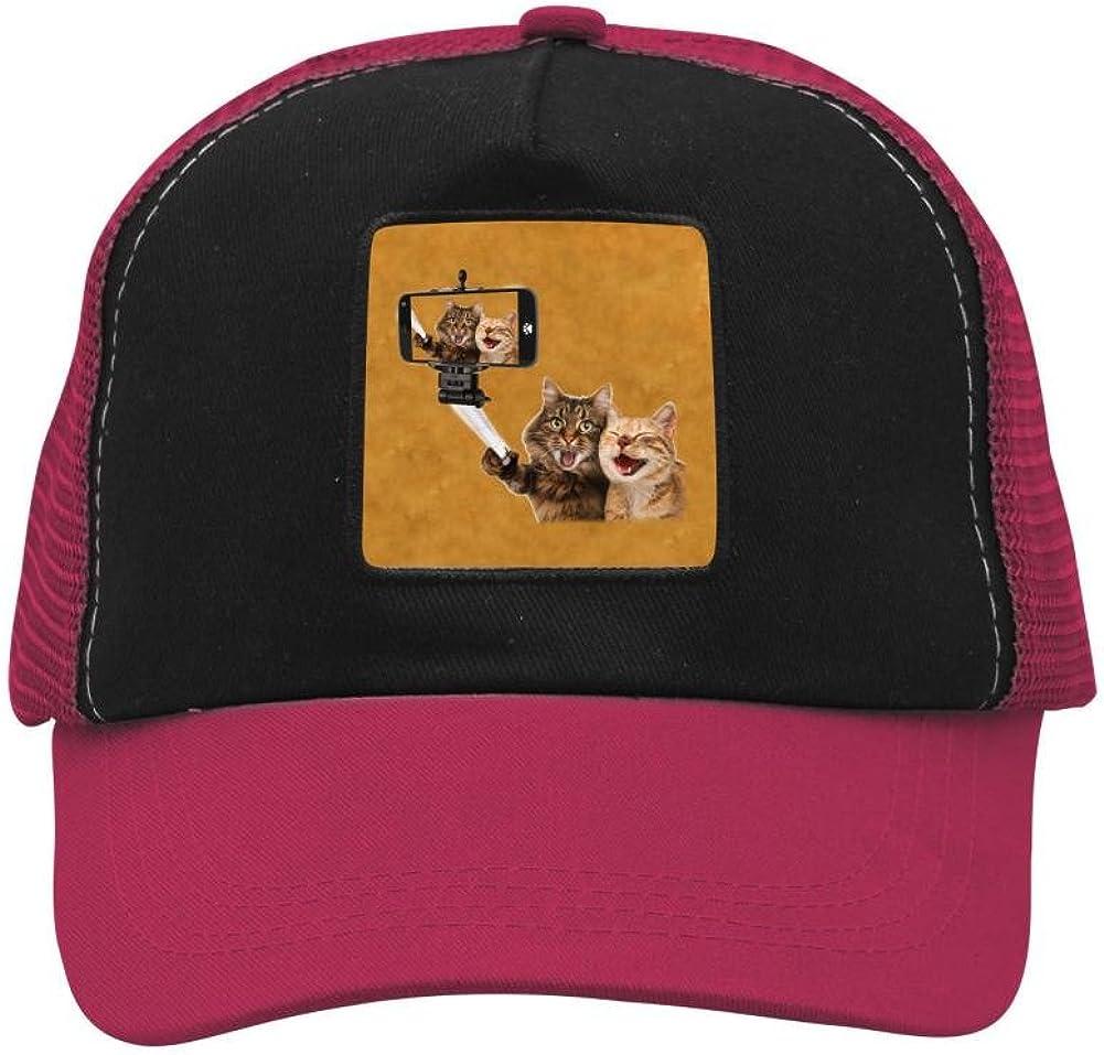 Adult Mesh Caps Hats Adjustable for Men Women Unisex,Print Funny Cats Self Picture