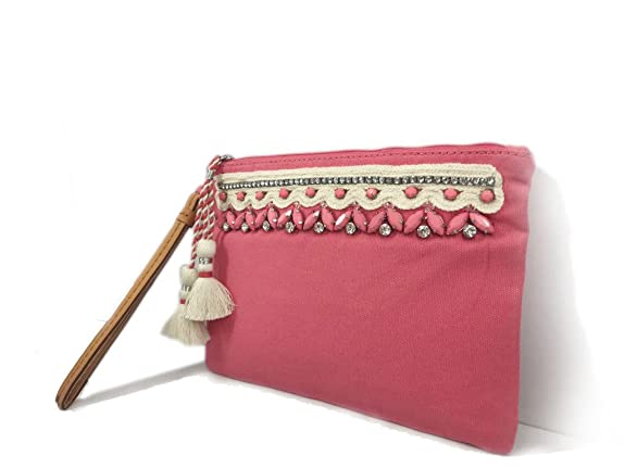 Jungli Murgi™ Pink & White Hand embroidered Wristlet with Tassels:  Amazon.in: Shoes & Handbags