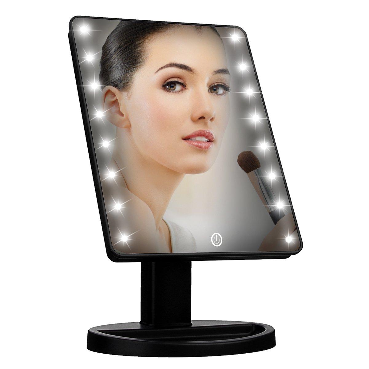 (Black) - Makeup Light Mirror, Charminer 16 LEDs Touch Light Illuminated Cosmetic Desktop Vanity Mirror with Stand,Handy Touching On/Off Black B01LZI8Q6T ブラック ブラック