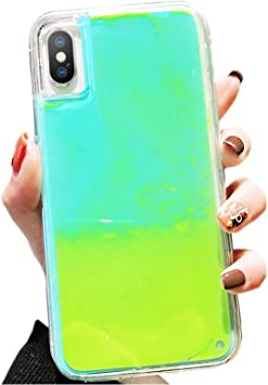 SGVAHY Fluorescent Case for iPhone 6 Plus, Luxury Luminous Glow Liquid Quicksand Hard PC Back Cover Soft TPU Bumper Shockproof Protective Case for ...