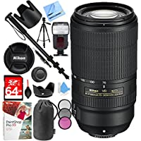 Nikon AF-P NIKKOR 70-300mm f/4.5-5.6E ED VR Fixed Zoom DSLR Lens (Black) with 64GB SDXC Memory Card Plus Accessories Bundle