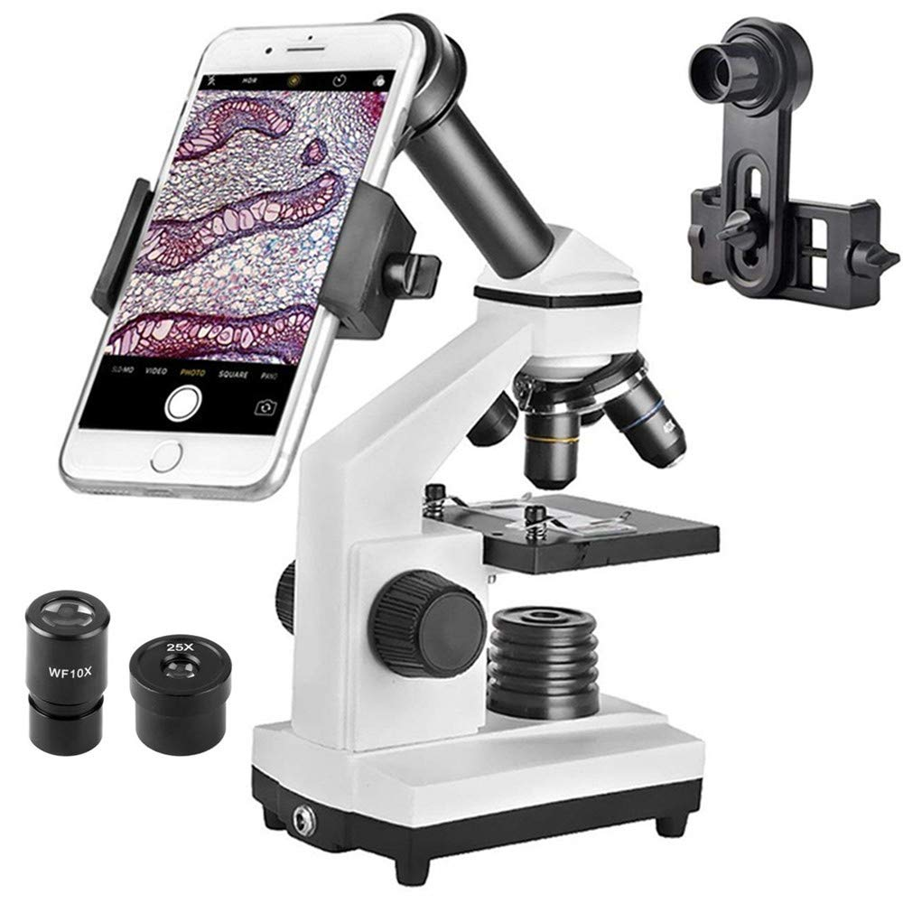 Student Microscope 40X-1000X Optical Glass Lens All-Metal LED Biological Compound Monocular Microscope with 16X Eyepiece Cellphone Digiscoping Adapter for Capturing The Micro World in The Screen