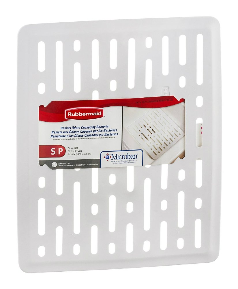 Rubbermaid 1G1706WHT Enhanced Microbal Sink Mat, Small, White