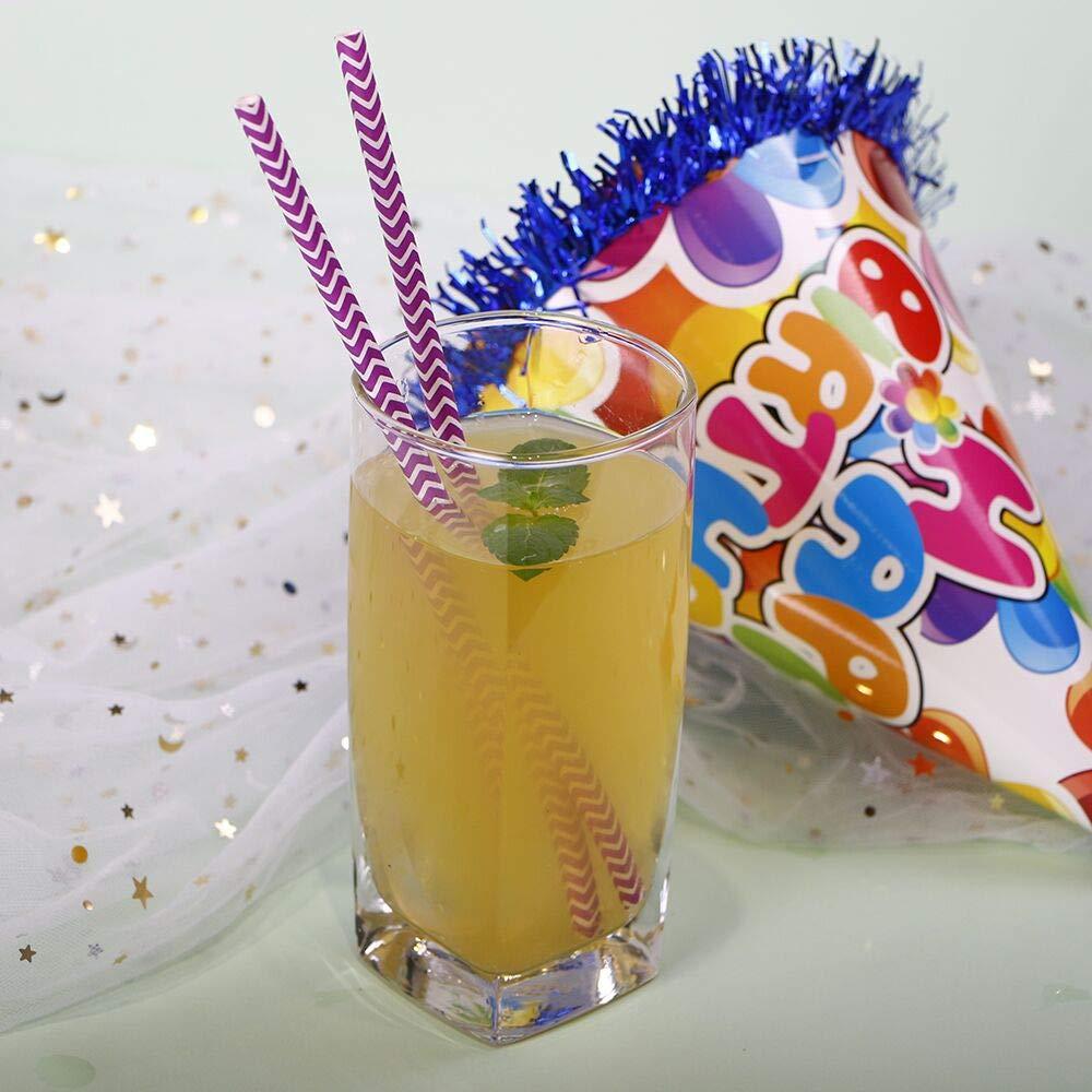 Webake 100 pz biodegradabili cannucce di carta 19,7 cm cannucce cannucce usa e getta per compleanni matrimoni Viola a righe cerimonie feste