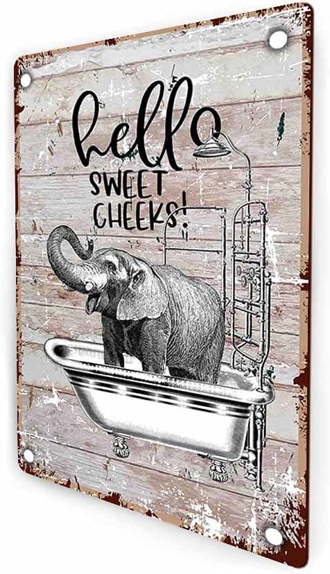 akeke Hello Sweet Cheeks Elephant Funny Bathroom Rustic Farmhouse Retro Metal Wall Sign Decor, Guest Bathroom Decor