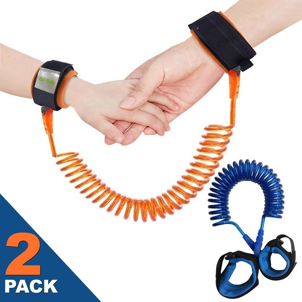 Anti Lost Wrist Link Safety Wristband for Toddlers, Babies Harnesses and Straps Walking Hand Straps (Orange/Blue)