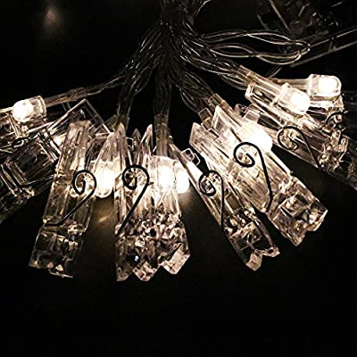 String Lights, LED Photo Clips Lights, Party Lights for Hanging Artwork Photos Memos and Paintings, Battery Powered, 10 Feet, (Warm White)