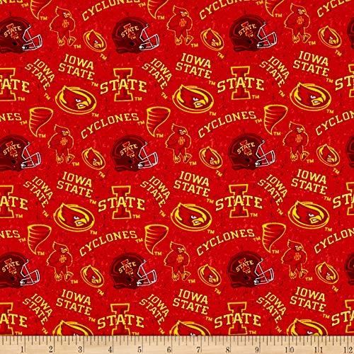 Sykel Enterprises NCAA- Iowa State 1178 Tone on Tone Maroon/Red/Yellow, Fabric by the Yard