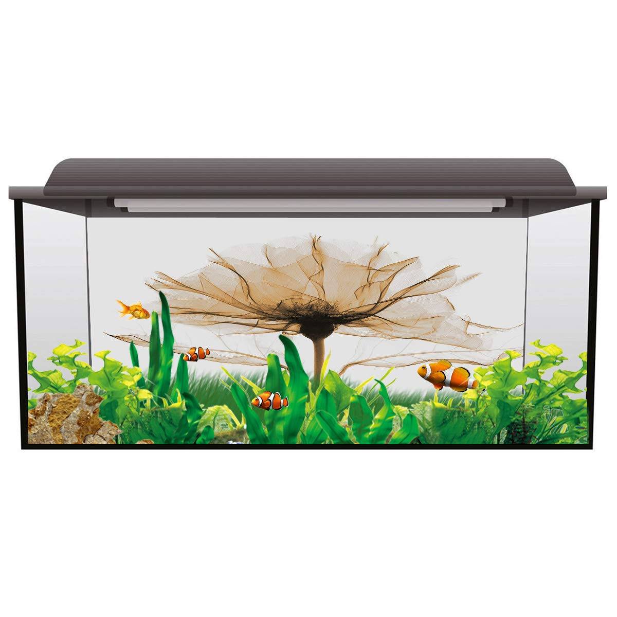 Fantasy Staring Aquarium Background Bohemian Mandala Circle Design Fish Tank Wallpaper Easy to Apply and Remove PVC Sticker Pictures Poster Background Decoration