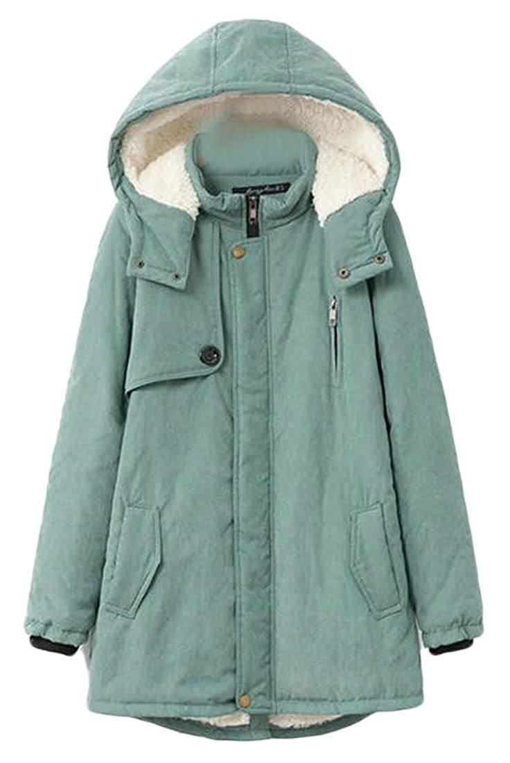 1 FLCH+YIGE Womens Winter Warm Thickened Parka Padded Hooded Coat Jacket