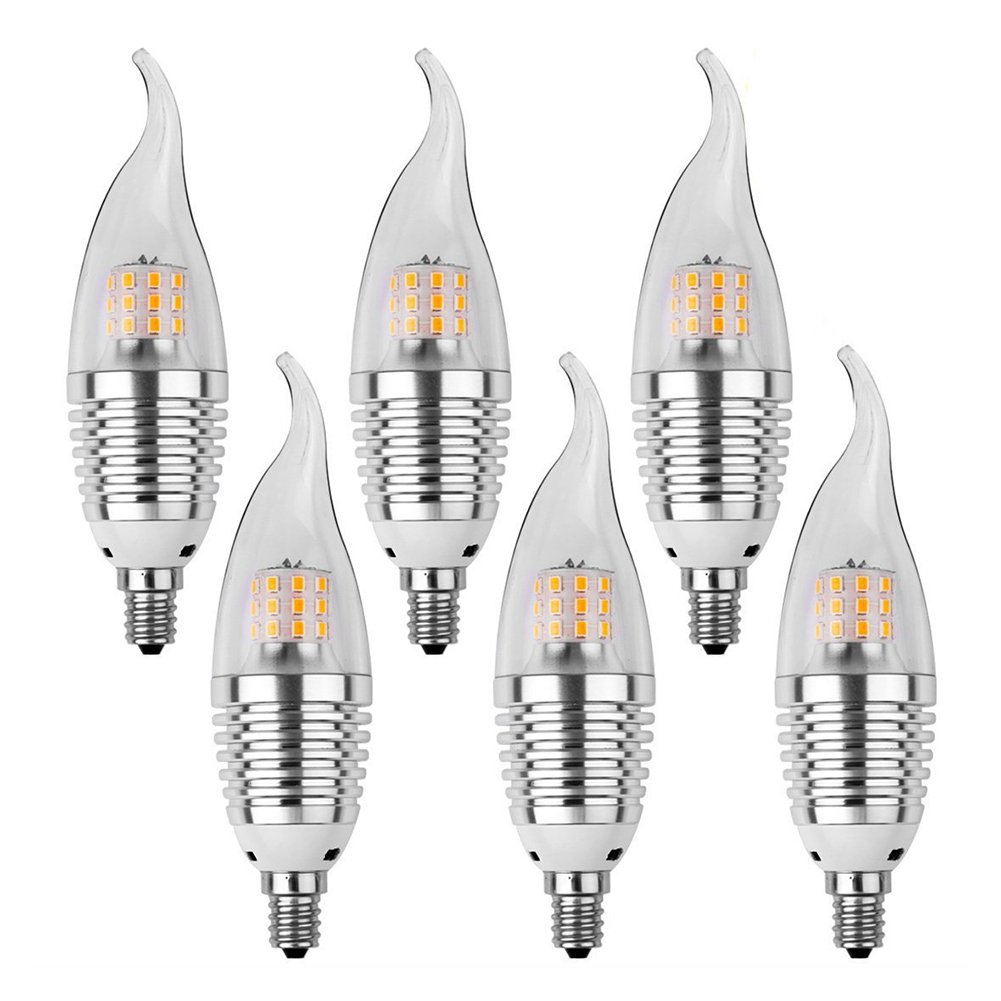 SODIAL(R) 6pcs LED Candelabra Bulb, Base E12 7W,6000K, LED Candle Bulbs, 60 Watt Light Bulbs Equivalent Incandescent,Non-dimmable, 630 Lumens LED Lights, Chandelier Flame Tip Warm White