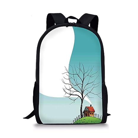 bd2ccf538ed3 Amazon.com: iPrint School Bags Landscape,Stylized Landscape House on ...