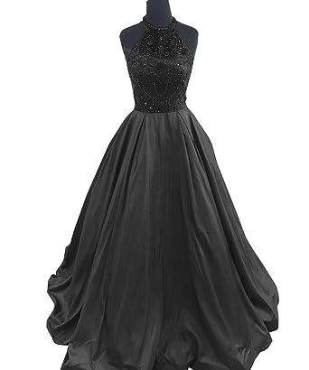 Womens Beaded Halter Beaded Prom Dresses Long Evening Formal Gowns Black,2