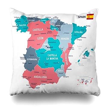 Amazon.com: Ahawoso Throw Pillow Cover Europe Blue Aragon ...