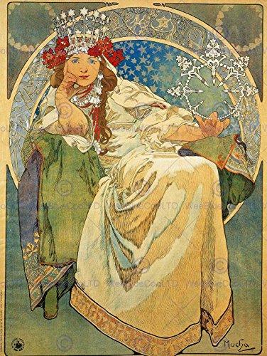 ALPHONSE MUCHA PRINCESS HYACINTH 1911 OLD MASTER ART PAINTING PRINT 12x16 inch 30x40cm POSTER 122OM Alphonse Mucha Paintings