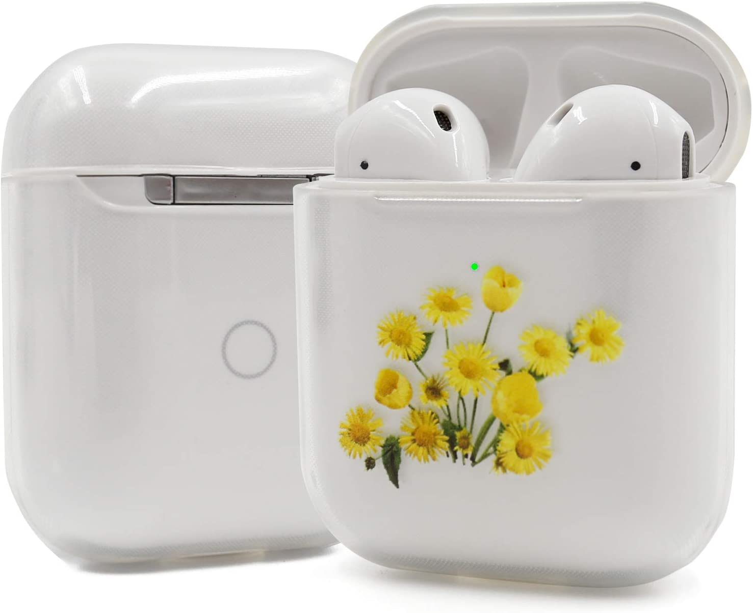 Clear AirPods Case, TPU AirPod Case Cover for Apple AirPods 2&1 Charging Case, Cute Bouquet Tulip Flower Yellow Flowers AirPods Soft Protective Case for Girls Teenages