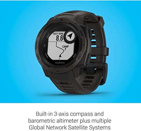 Renewed Built-in Navigation Sensors Monitors Heart Rate Graphite Garmin Instinct Rugged Outdoor GPS Watch Activity and Stress