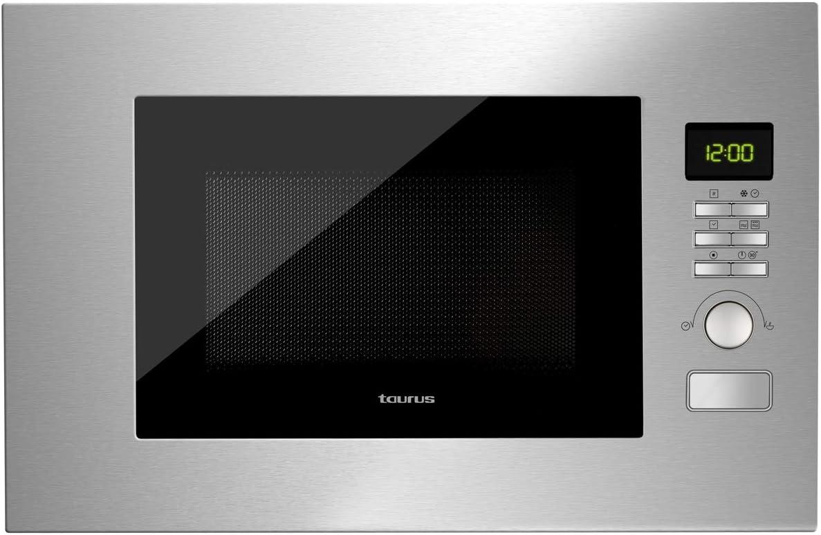 Taurus Fastwave Fused – Microondas digital integrable/encastre con grill. 800W/900W. 20L. ModoECO. Auto-Clean. Varias funciones y programas. Revestimiento Shiny&Clean. Tec.SmartHeat 455x342x26mm.