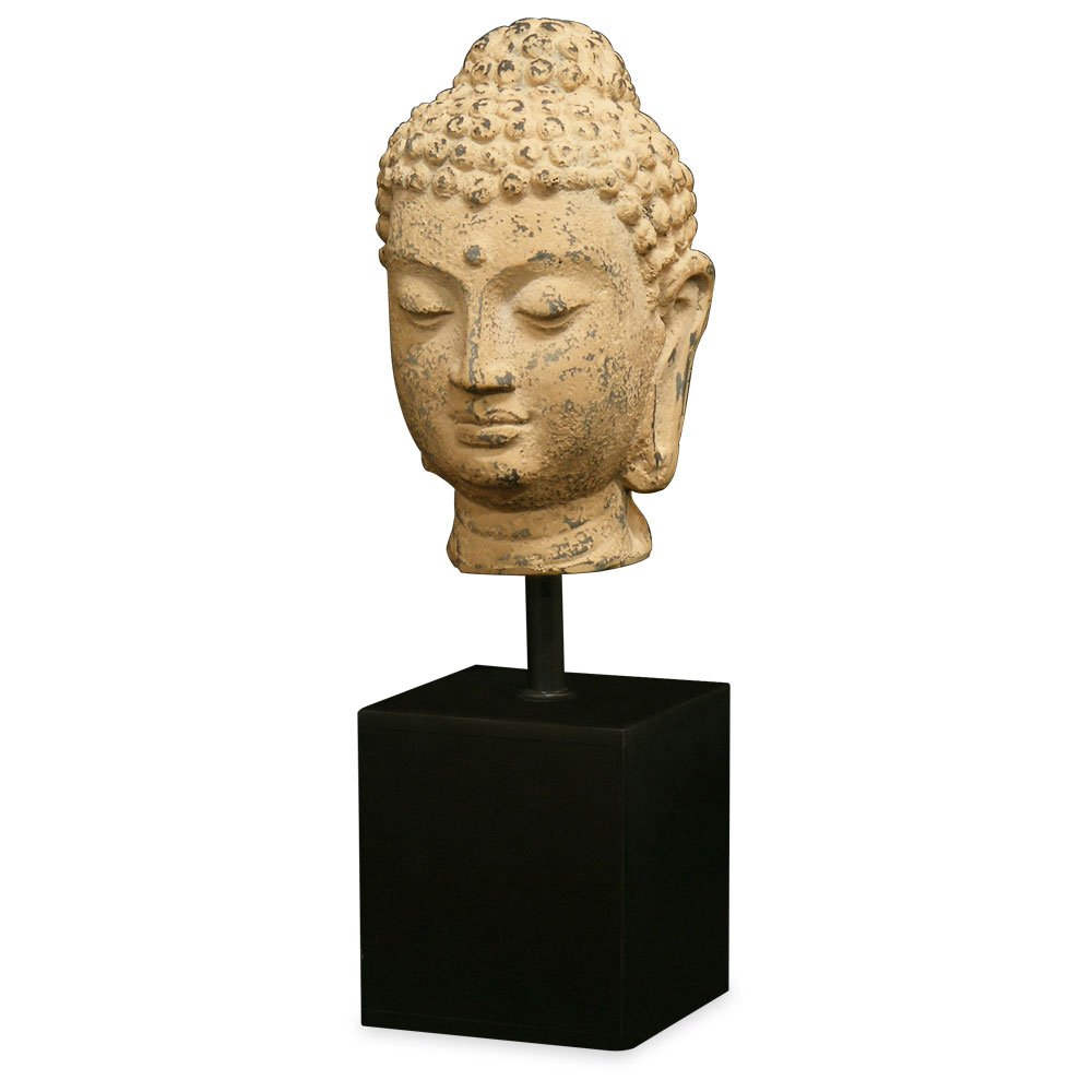 ChinaFurnitureOnline Tang Dynasty Meditative Buddha Head Statue with Wooden Stand Replica