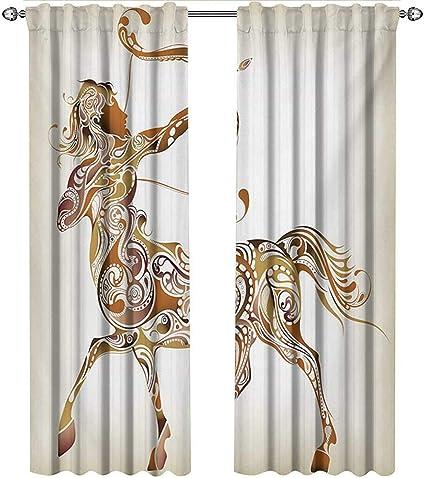 Shenglv Zodiac Sagittario Tende Per Finestra Piccola Modello Astratto Di Archer Con Arco E Frecce Tende Per Finestra Da Cucina Color Caramello Marrone Chiaro W108 X L96 Inch Color01 Amazon It Casa E