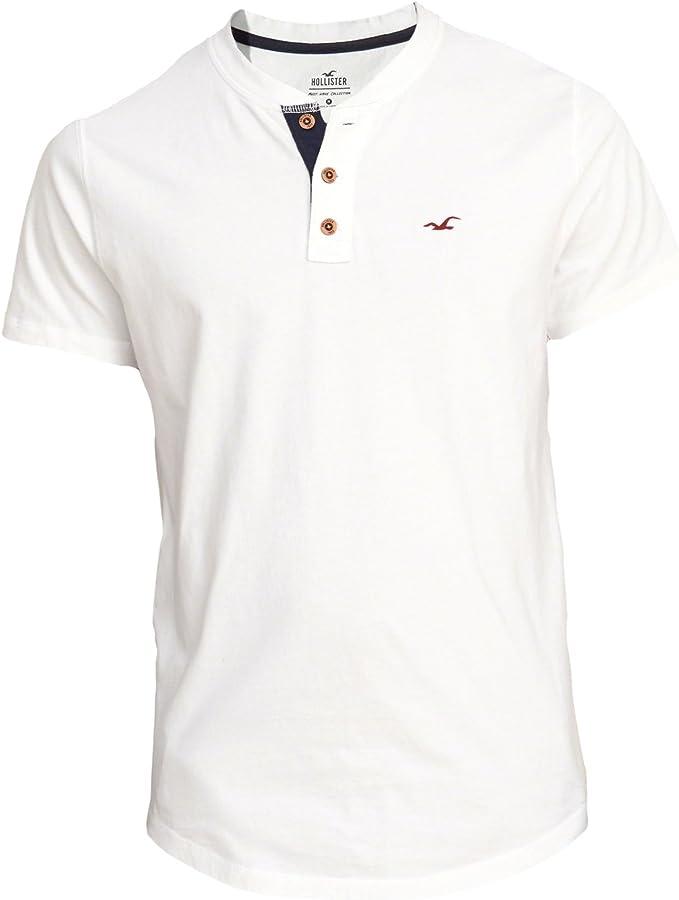 Hollister - Camiseta - Camiseta - Básico - Manga corta - para hombre blanco blanco XS: Amazon.es: Ropa y accesorios