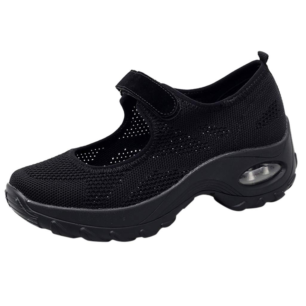 2019 New Women's Casual Breathable Lightweight Sports Shoes Summer Outdoor Soft Thick Bottom Running Sneakers Shoes (Black, US:6.5)