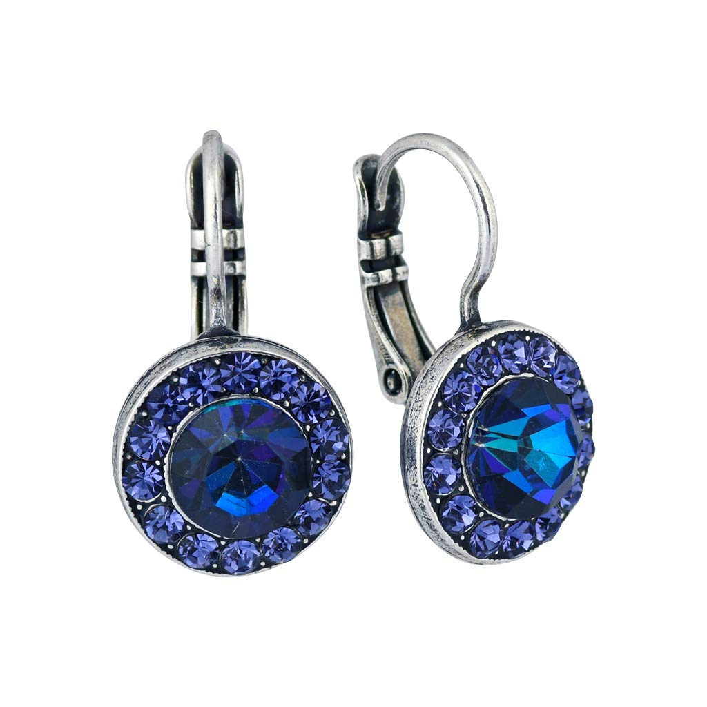 Mariana''Cotton Candy'' Silver Plated Crystal Petite Circle Drop Earrings
