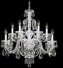 Schonbek 3601-40A Swarovski Lighting Sterling Chandelier, Silver