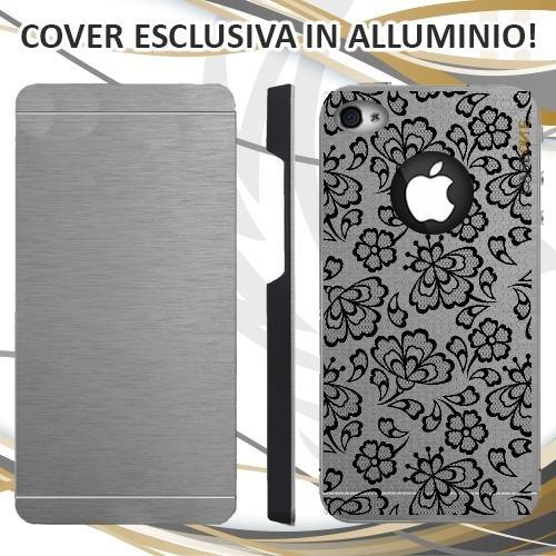 CUSTODIA COVER CASE FIORE WEDDING PIZZO PER IPHONE 4S ALLUMINIO TRASPARENTE