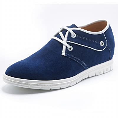 TopoutShoes Suede Elevator Casual Shoes 2.4inch Taller Lace Up Shoes Blue Height Increasing Sneakers