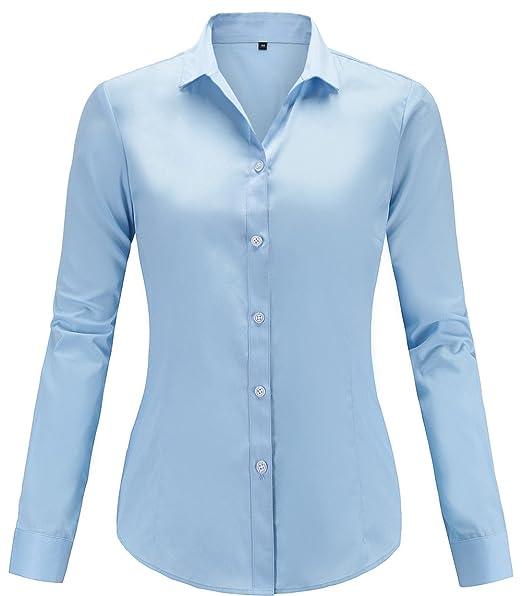 Mujer Manga De Blusas Larga Formal Color Camisas Solido Dioufond 8wXEqH5X