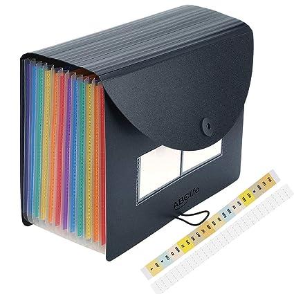 Carpeta Clasificadora con Tapa - ABC life Archivador acordeón 12 Bolsillos de gran Capacidad soporte Extensible portátil acordeón, MultiColor ...