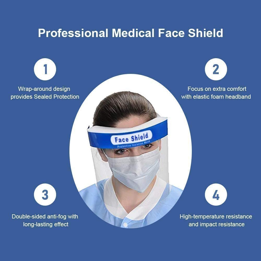 safety face protection wide field of view Feketden Face protection protection visor resistant spit anti-fog lens adjustable transparent full protective cap face shield 10PCS