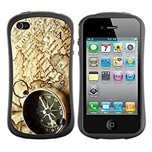Hybrid Anti-Shock Bumper Case for Apple iPhone 4 4S / Compass & Map