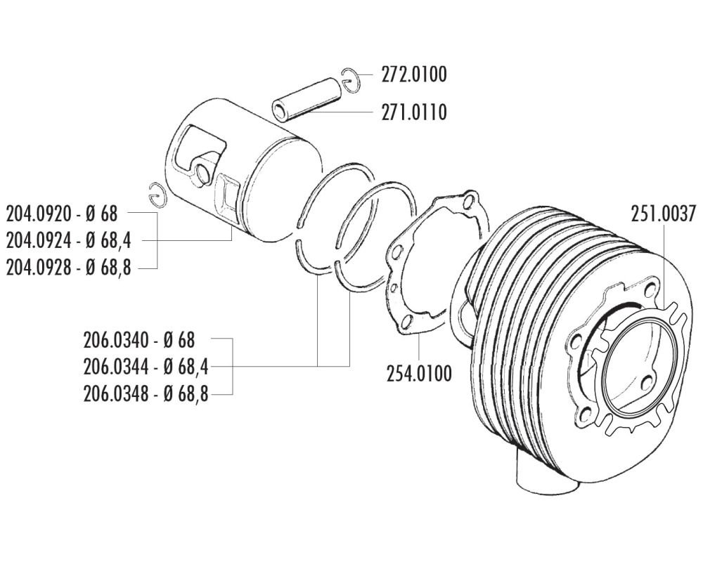 Zylinderkopfdichtung POLINI f/ür Vespa 200 PE PX