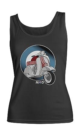 Moped Mod Culture Damen Tank Top Ärmellos Muskelshirt Schwarz Small