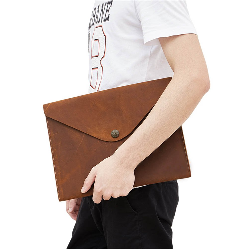 Business Briefcase European Style Leather Messenger Casual Bag Briefcase IPad A4 File Color : Black