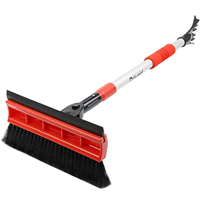 """Drivaid Car Snow Brush with Squeegee, 32\"""" to 46.5\"""" Extendable Auto Snow Removal Broom with Ice Scraper, Foam Grip, Telescoping Snow Brush for Car Truck SUV, Red: Automotive [5Bkhe1001155]"""