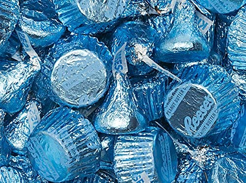 (Hershey's Kisses In Light Blue Foils Miniatures Baby Shower Candy - 2)