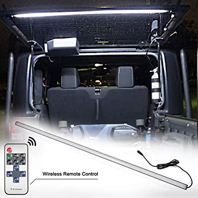 Led Rear Glass Lift Gate Dome Light Bar for Jeep Wrangler 2007-2020 - JK JKU,2020-2020 JL JUL, Rear Cargo Dome Light Led Liftgate Dome Light Bar,Lighting Adjustable with Remote and DC Connector: Automotive