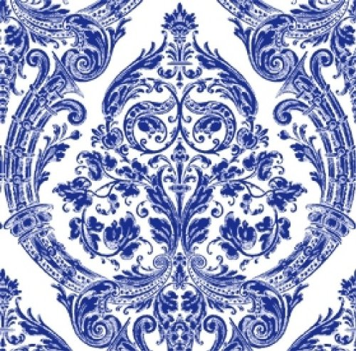 Ideal Home Range 20-Count 3-Ply Paper Cocktail Napkins, Blue Grandeur