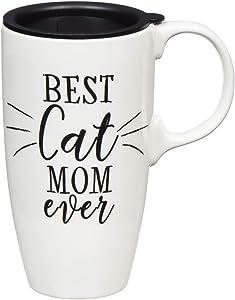 Cat Mom Ceramic Travel Cup - 5 x 7 x 4 Inches